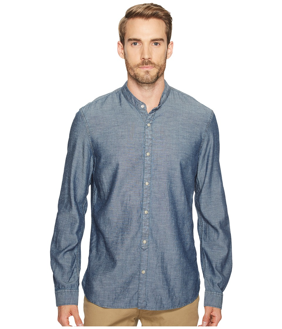 John Varvatos Star U.S.A. - Button Down Banded Collar Shirt (Indigo) Men's Clothing