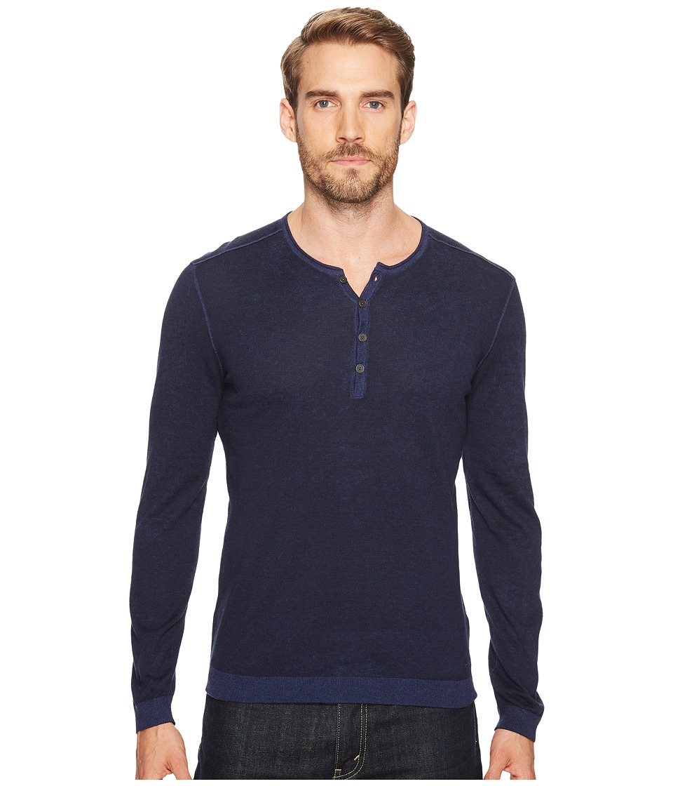 John Varvatos Star U.S.A. - Reverse Printed Henley (Navy) Men's Clothing