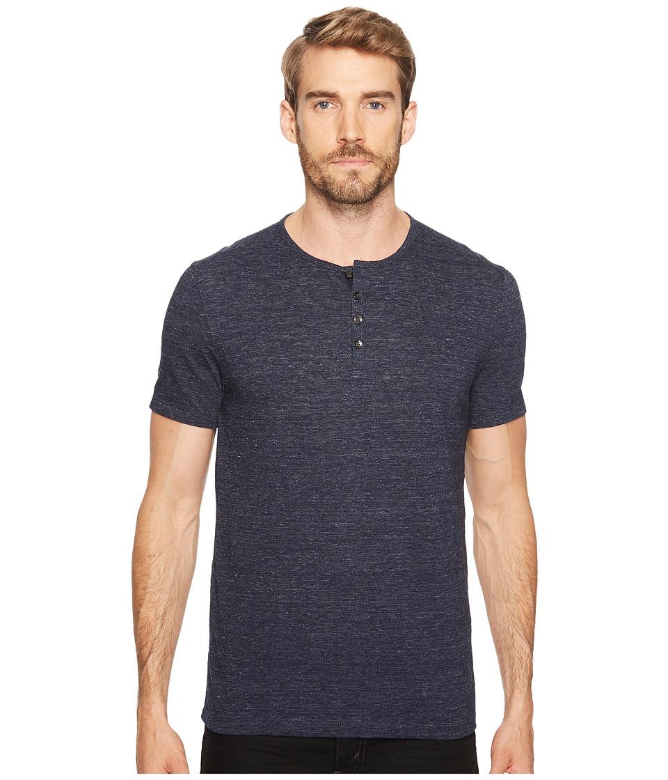 John Varvatos Star U.S.A. - Melange Short Sleeve Henley (Midnight) Men's Clothing