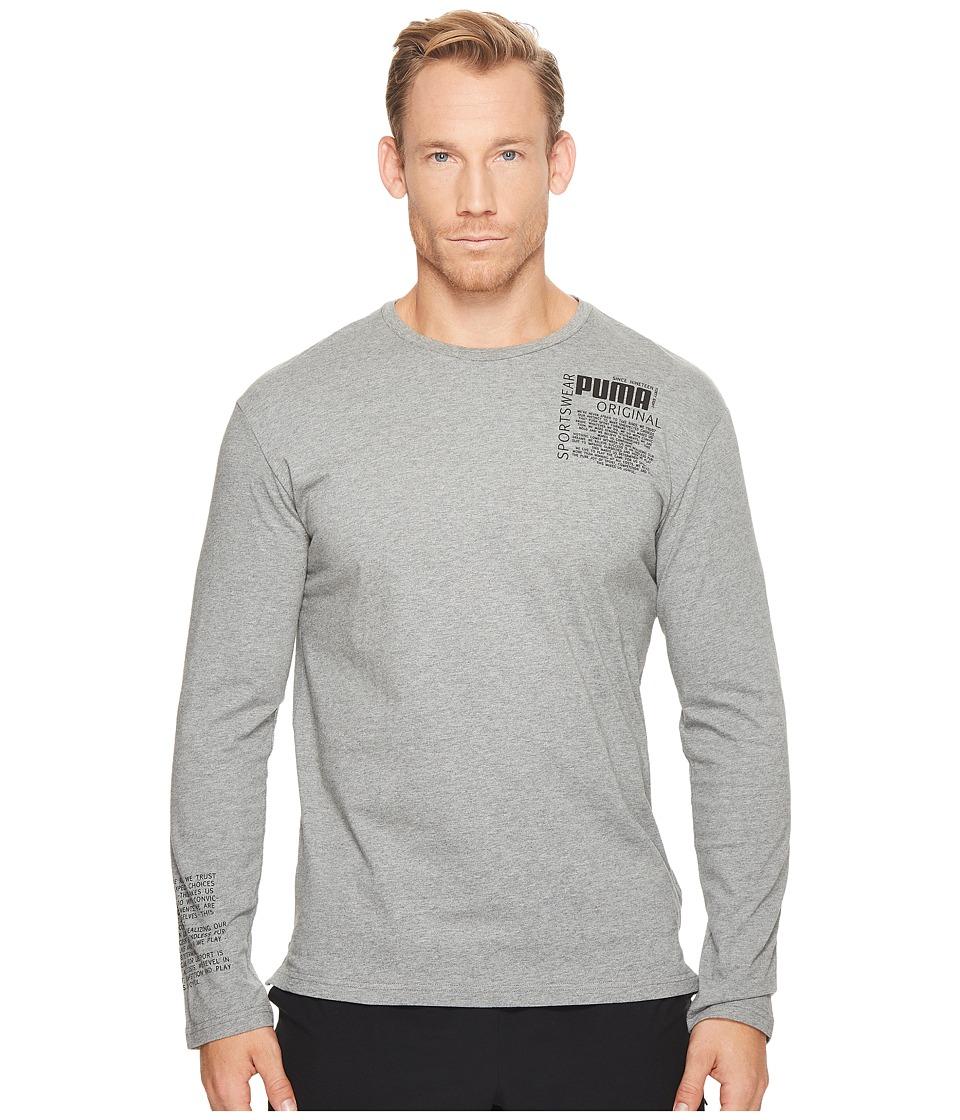 PUMA Disrupt Long Sleeve Top (Medium Grey Heather) Men