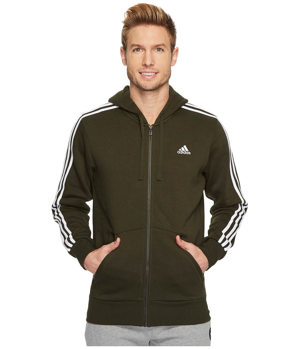 adidas - Essentials 3-Stripes Full Zip Brushed Fleece Hoodie (Night Cargo/Black) Men's Sweatshirt