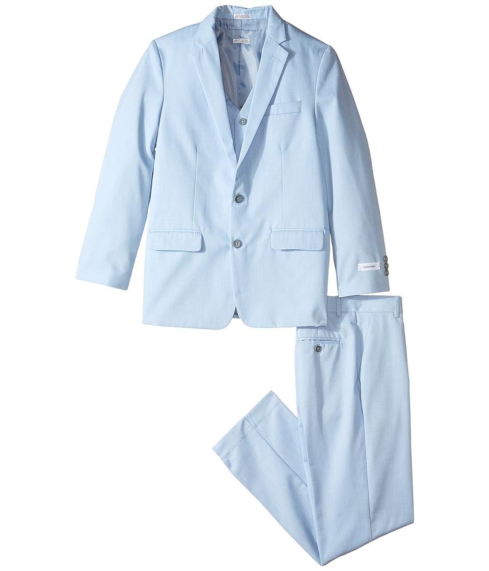 Calvin Klein Kids - Contrast Twill Suit (Big Kids) (Light Blue) Boy's Suits Sets