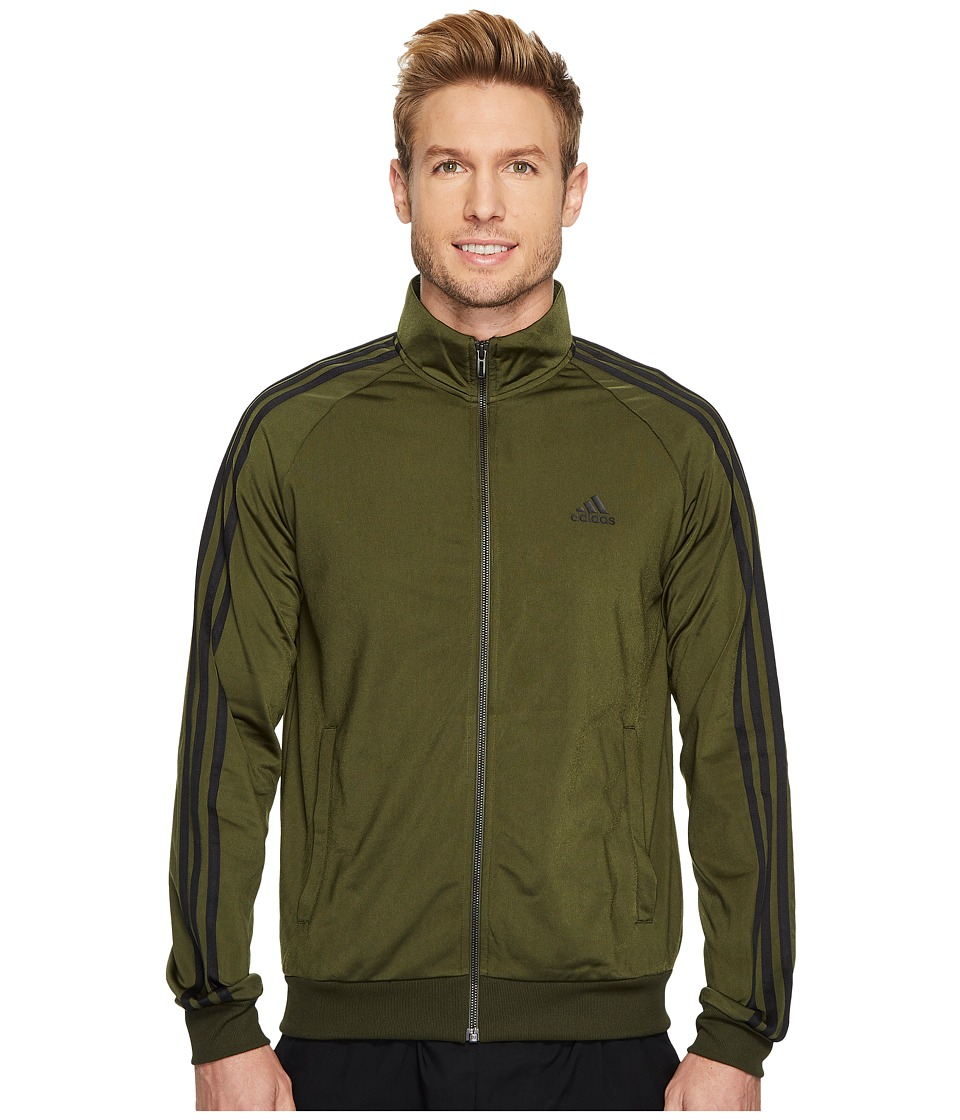 adidas - Essentials 3-Stripes Tricot Track Jacket (Night Cargo/Black) Men's Coat