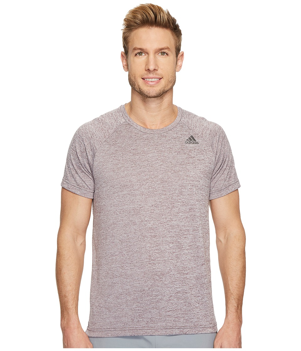 adidas - D2M Tee Heathered (Dark Burgundy) Men's T Shirt