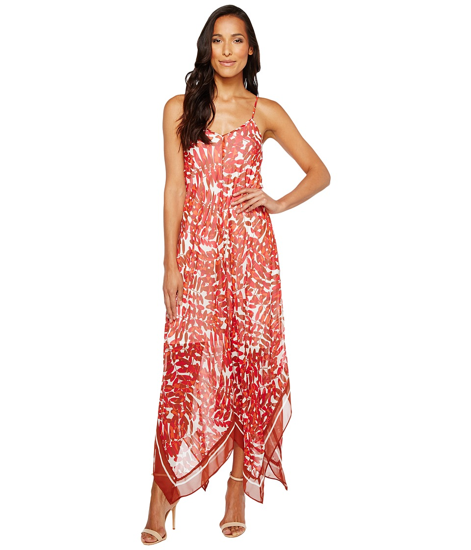 Taylor - Fern Print Hanky Hem Midi Slip Dress (Red Spice) Women's Dress