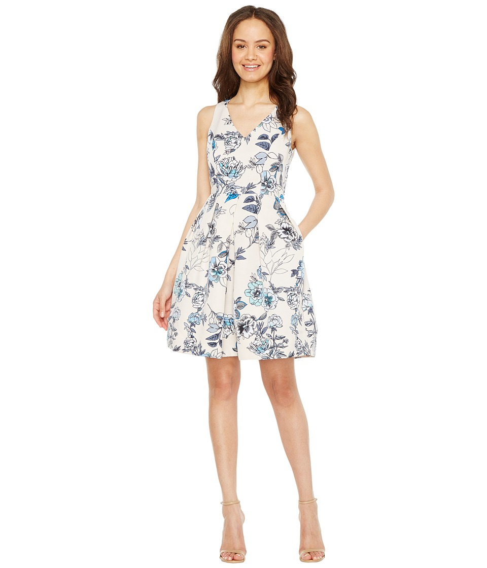 Taylor - Floral X-Back Fit Flare Dress (Porcelain Blue) Women's Dress