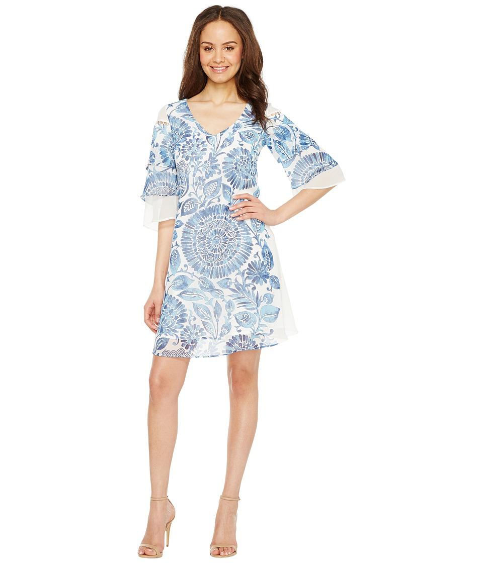 Taylor Chiffon Shift with Triple Tiered Bell Sleeve Dress (Azure) Women