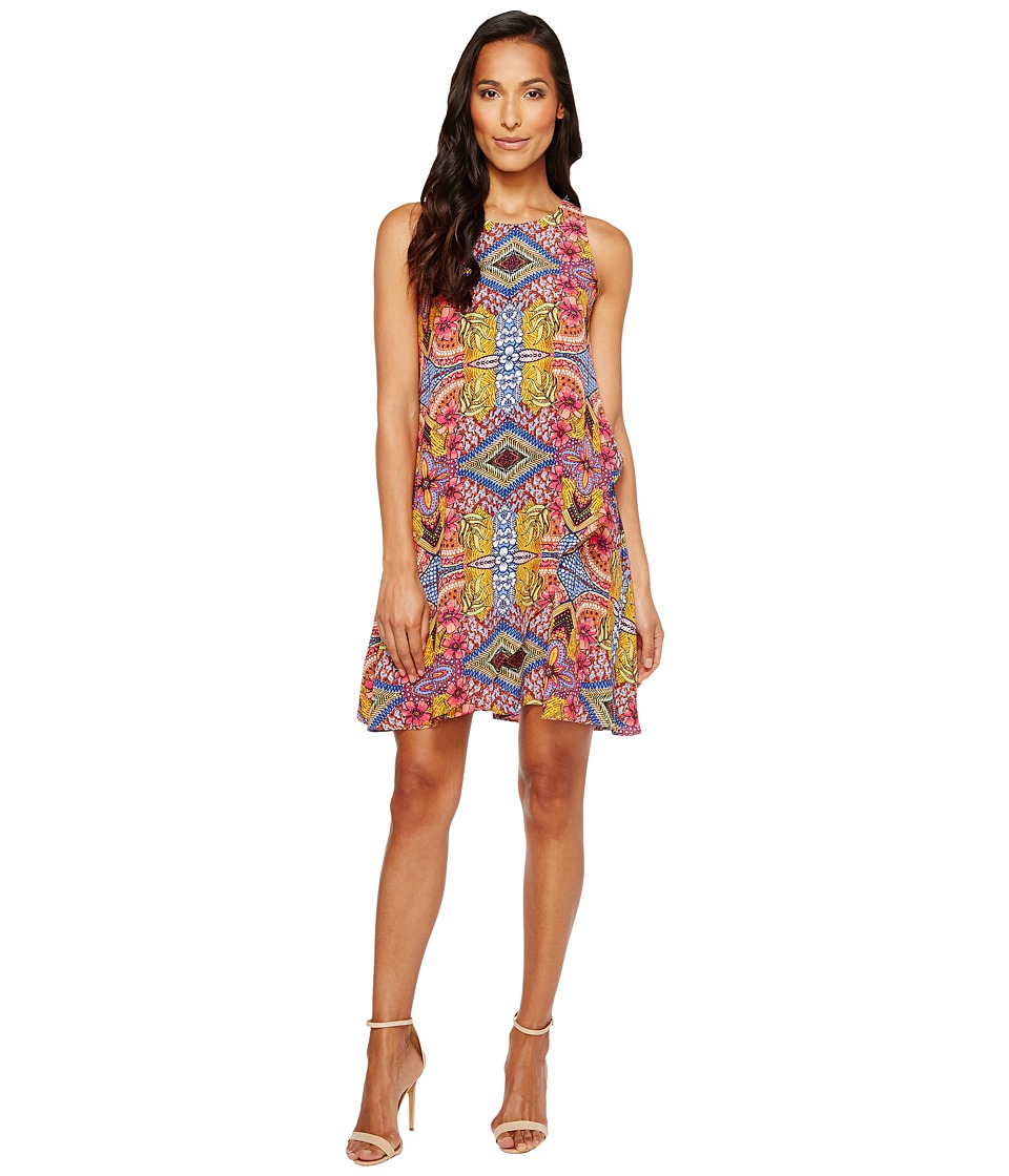 Taylor Floral Print Crepe Trapeze Dress (Purple Multi) Women