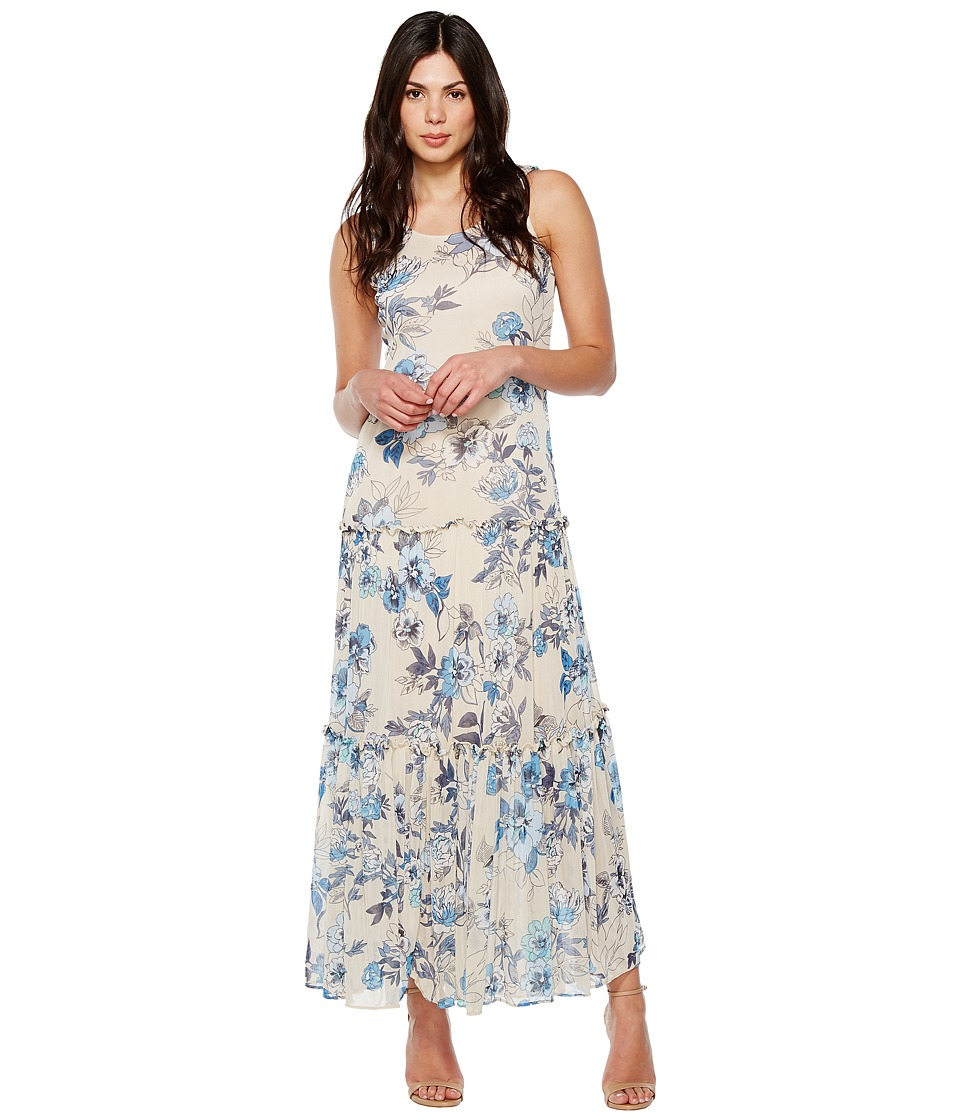Taylor - Floral Jersey Mesh Maxi (Porcelain) Women's Dress