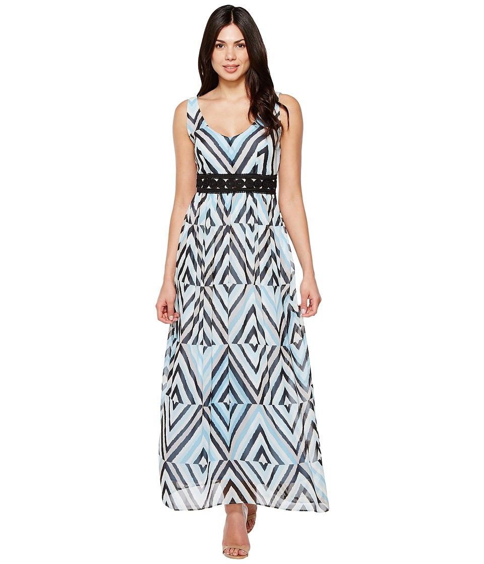 Taylor - Geo Print Chiffon Maxi with Crochet Waist Inset (Sky Blue Multi) Women's Dress