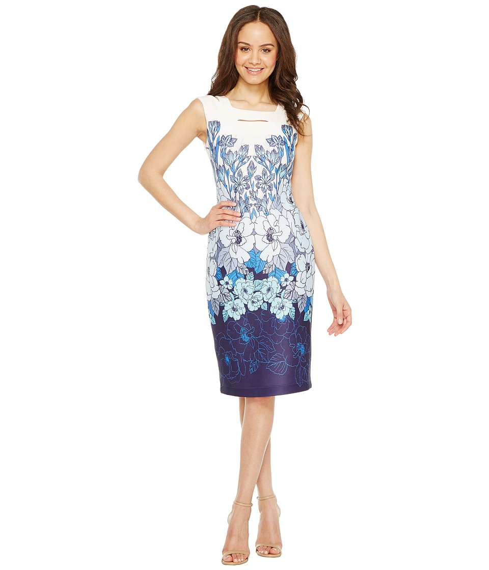 Taylor - Double Strap Scuba Midi (Porcelain Blue) Women's Dress