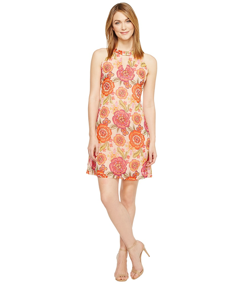 Taylor - Floral Chiffon Shift with Keyhole (Tangerine/Plum) Women's Dress