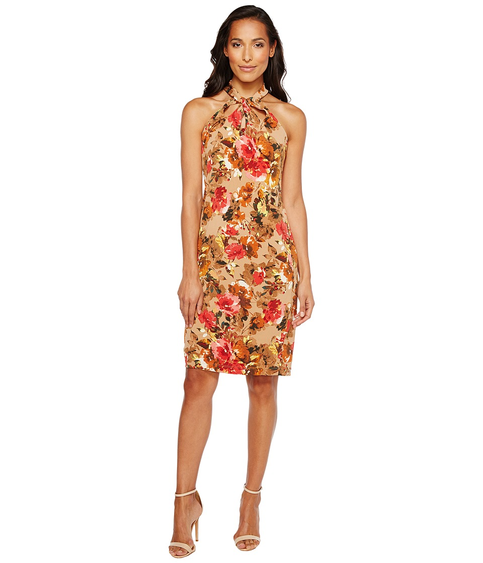 Taylor - Floral Knot Neck Midi with Triple Keyhole (Ginger Floral) Women's Dress