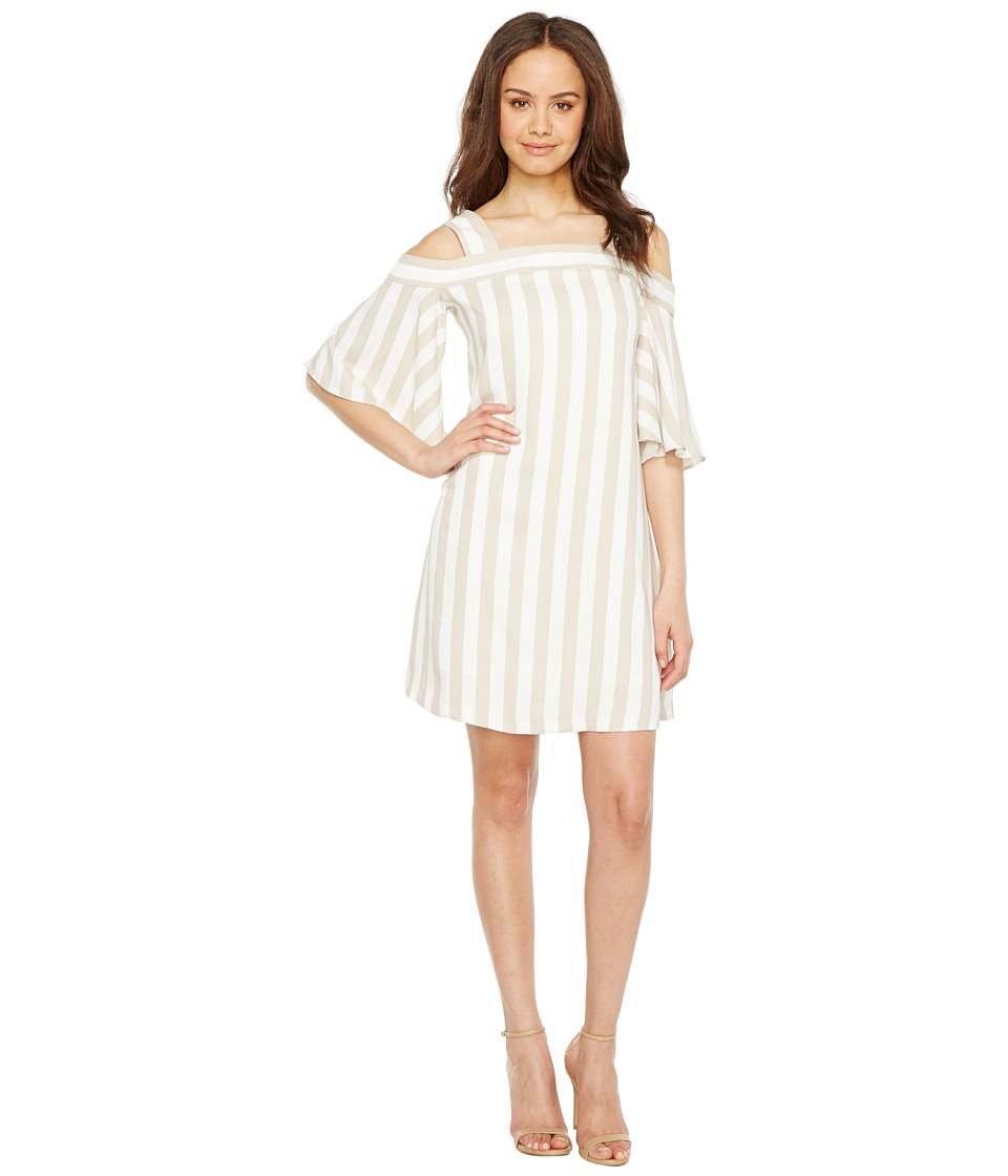 Taylor - Striped Cold Shoulder Trapeze Dress (Ecru/White) Women's Dress