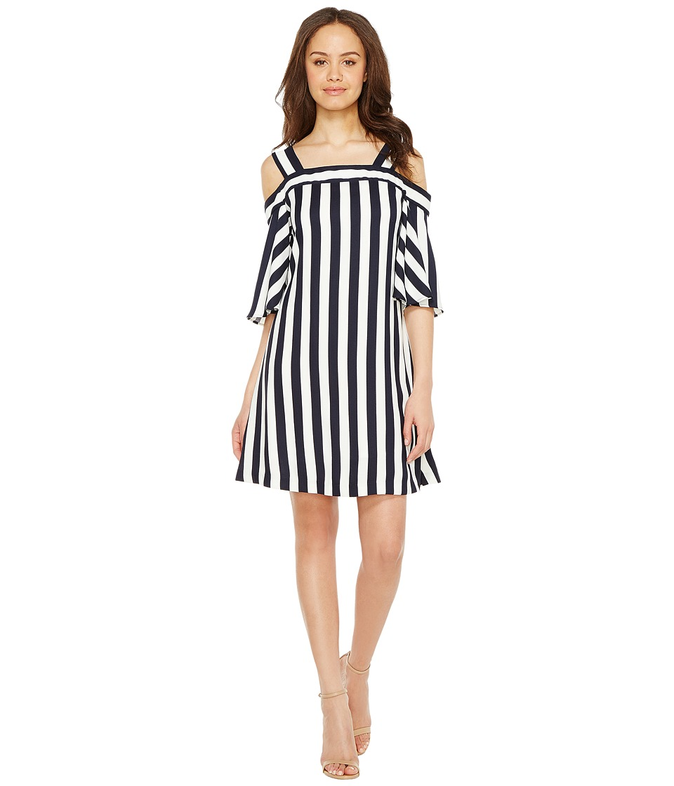 Taylor - Striped Cold Shoulder Trapeze Dress (Navy/White) Women's Dress