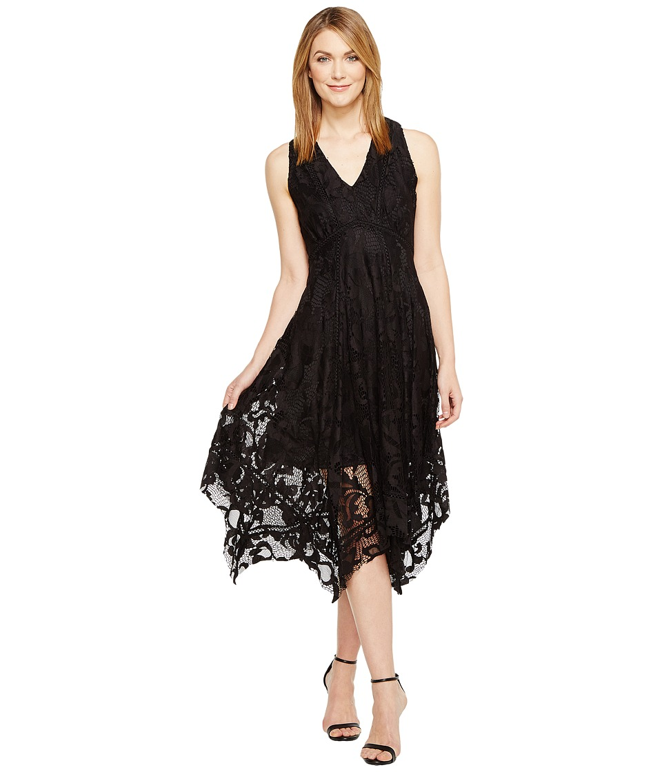 Taylor - Sleeveless Hanky Hem Midi (Black) Women's Dress