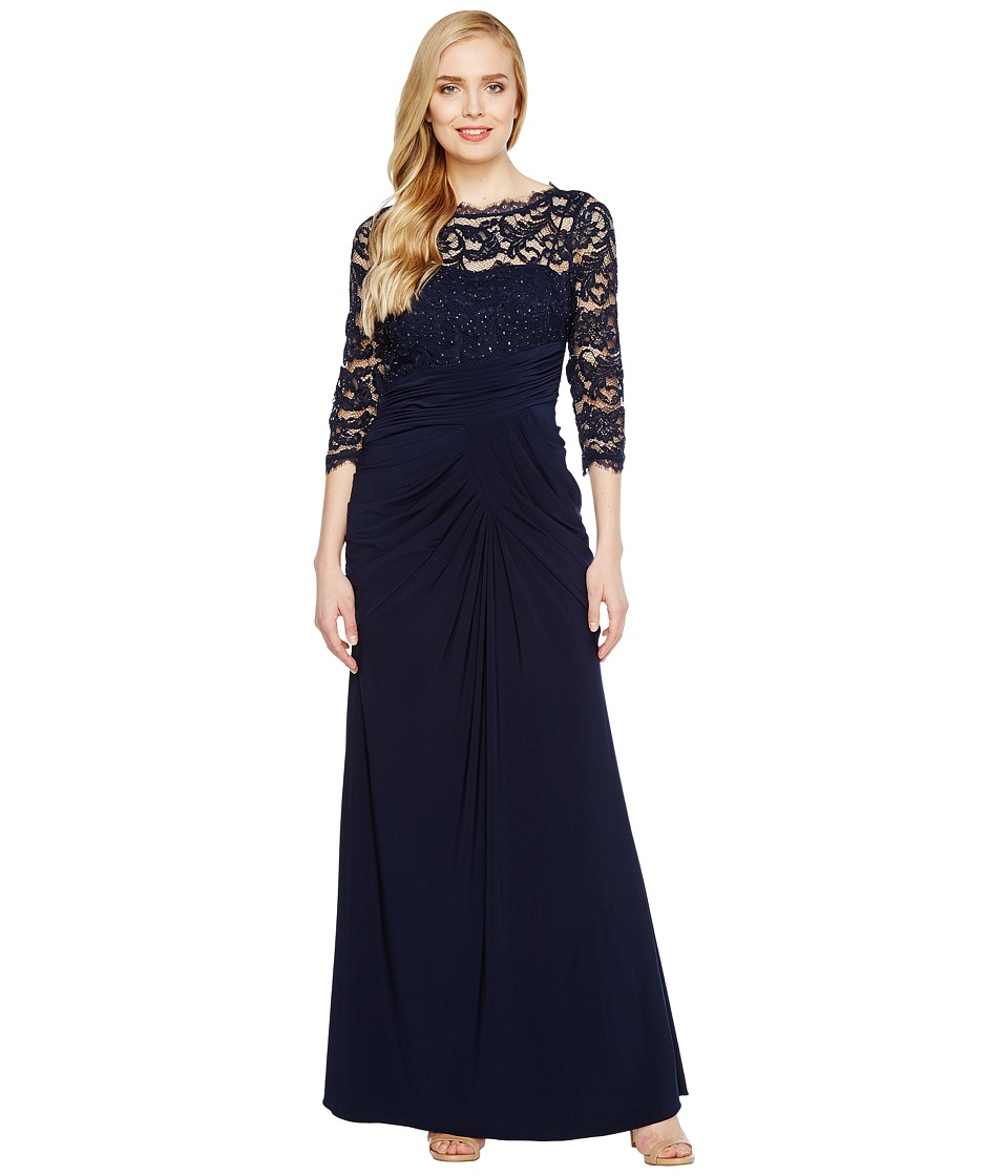 Adrianna Papell - Lace and Draped Jersey Gown (Midnight) Women's Dress
