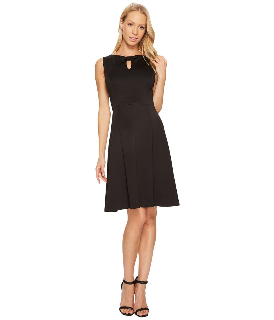 Ellen Tracy - A-Line Scuba Dress with Keyhole Detail (Black) Women's Dress