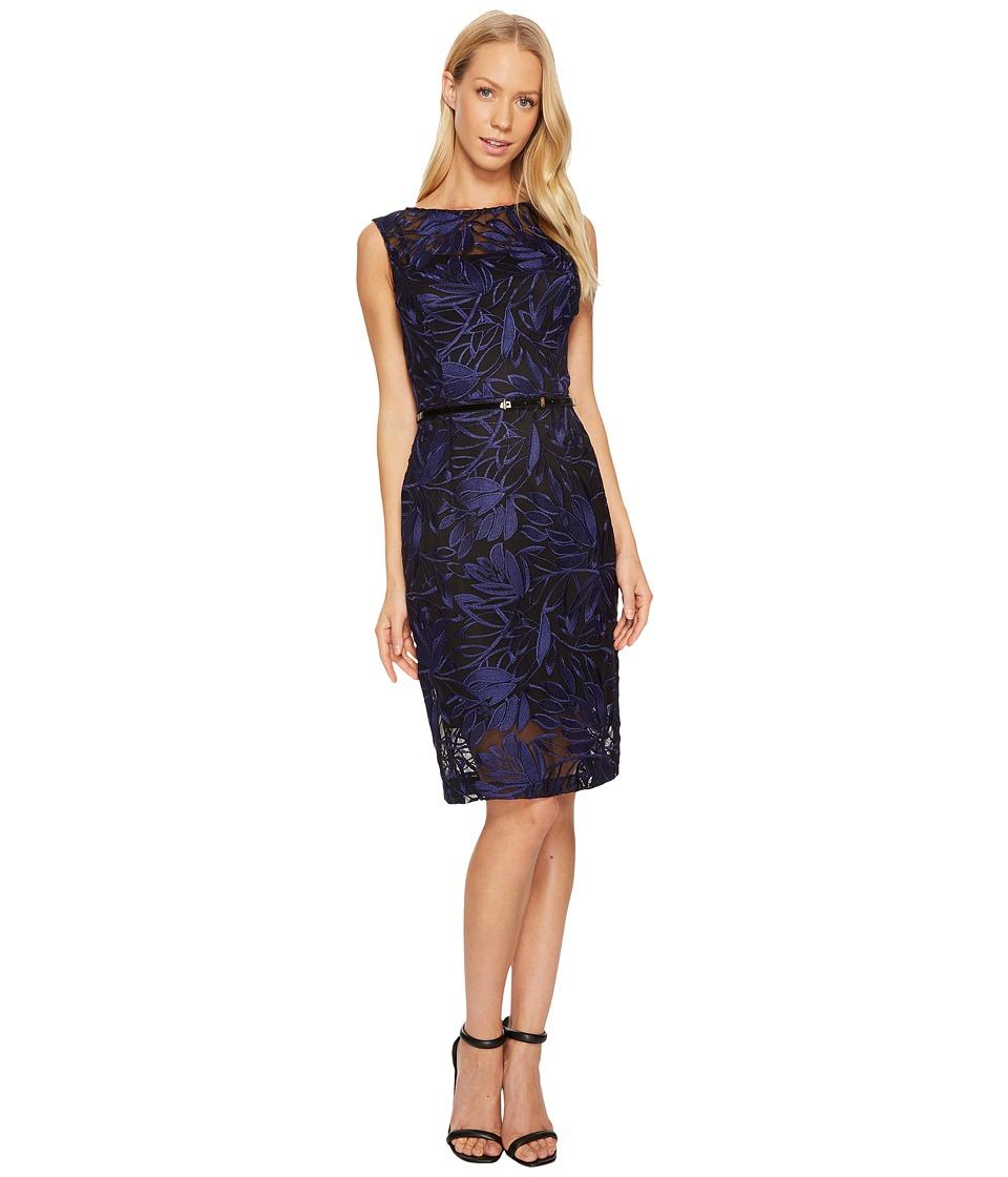 Ellen Tracy - Embroidered Midi with Belt (Indigo) Women's Dress