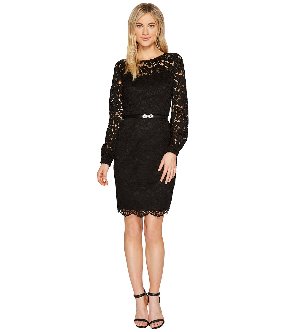 Ellen Tracy - Lace Dress with Embellished Belt (Black) Women's Dress