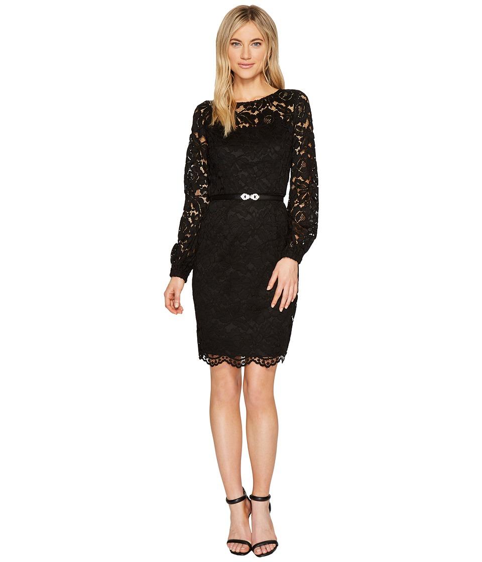Ellen Tracy Lace Dress with Embellished Belt (Black) Women