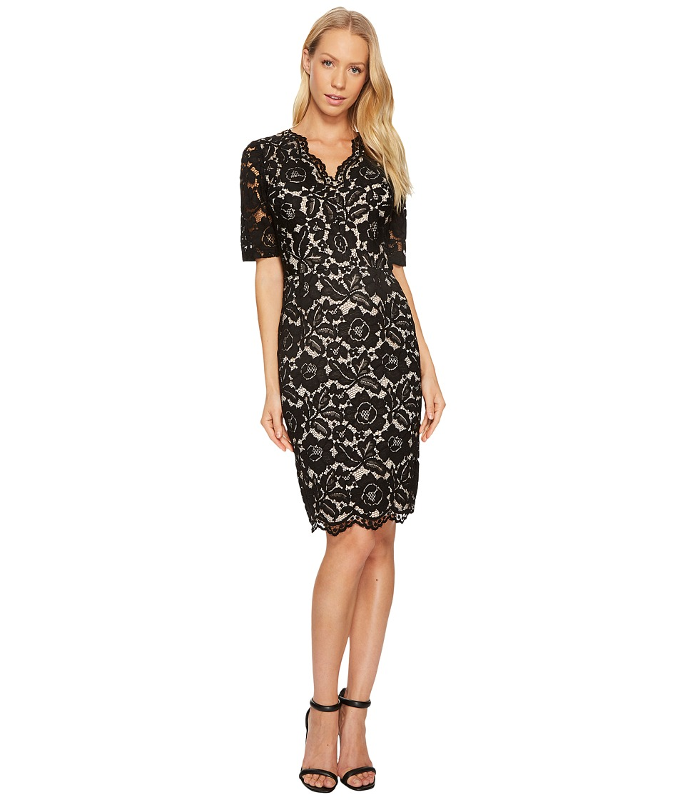 Ellen Tracy - Elbow Sleeved Lace Dress with V-Neck and Nude Lining (Black) Women's Dress