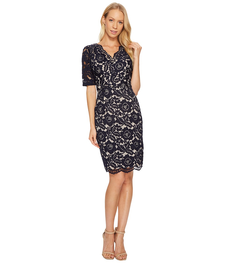 Ellen Tracy - Elbow Sleeved Lace Dress with V-Neck and Nude Lining (Navy) Women's Dress