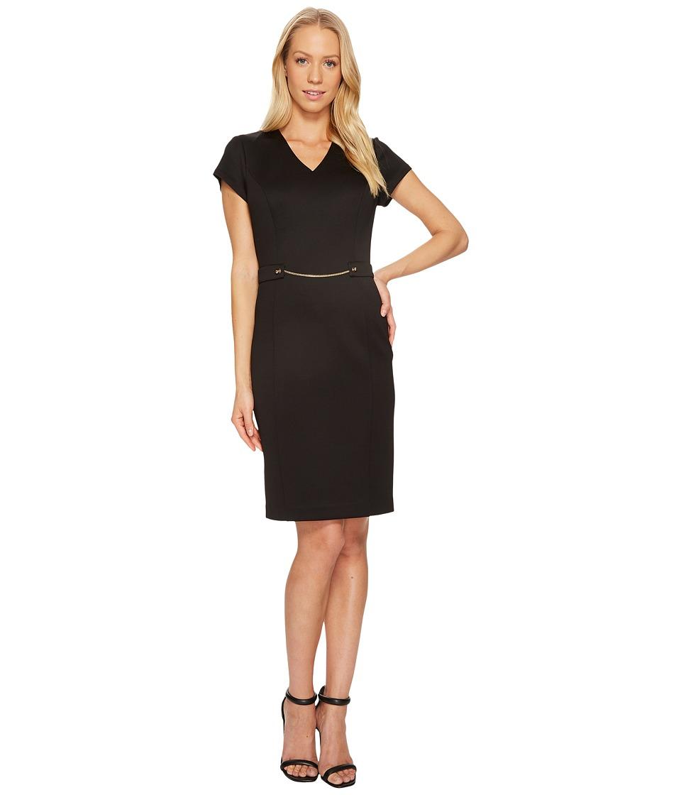 Ellen Tracy - Short Sleeved Scuba Dress with Chain Detail (Black) Women's Dress