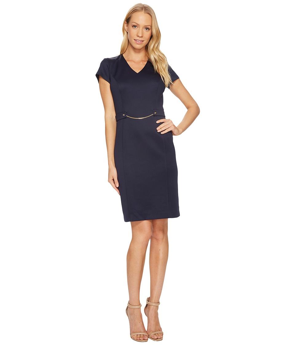 Ellen Tracy - Short Sleeved Scuba Dress with Chain Detail (Navy) Women's Dress