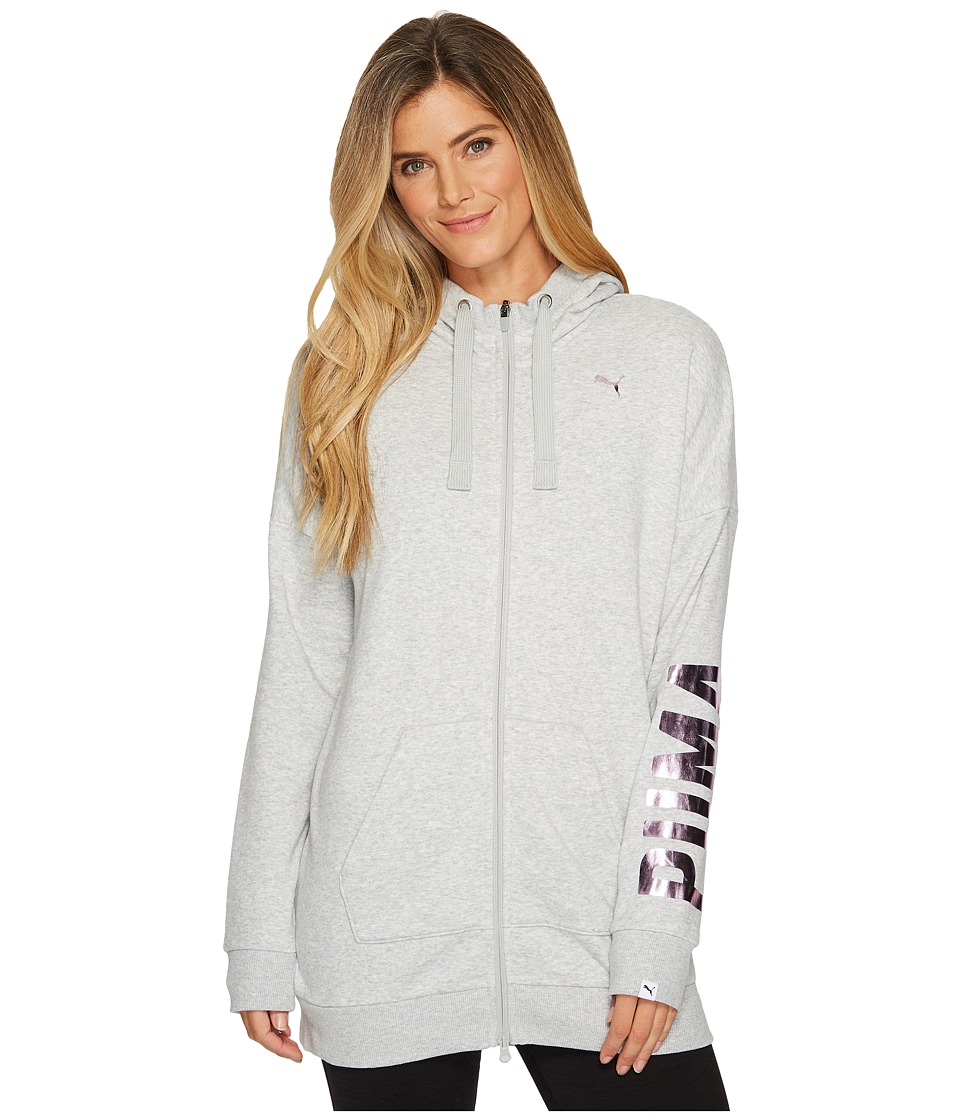 PUMA Fusion Elongated Full Zip Hoodie (Light Grey Heather Foil) Women