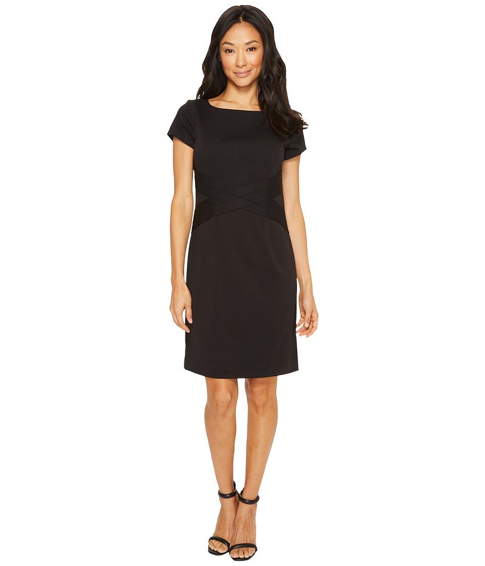 Ellen Tracy - Short Sleeved Ponte Dress with Waist Detail (Black) Women's Dress