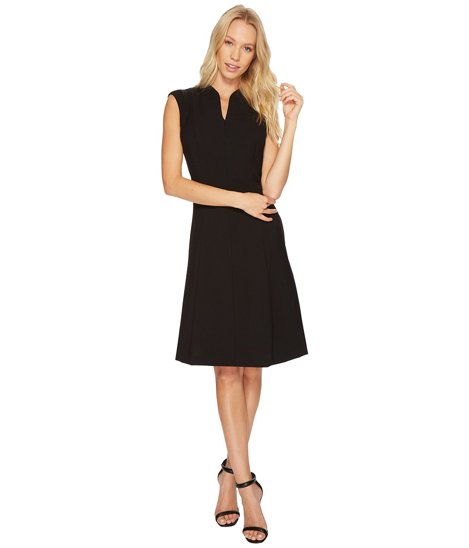 Ellen Tracy - Solid Fit and Flare Dress with Front Zipper Detail (Black) Women's Dress