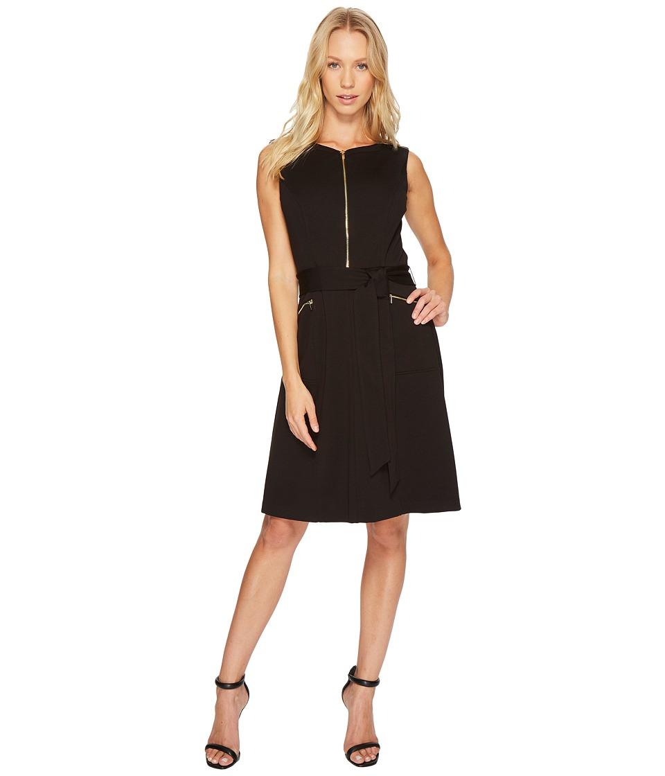 Ellen Tracy - A-Line Ponte Dress with Zipper Detail and Waist Tie (Black) Women's Dress