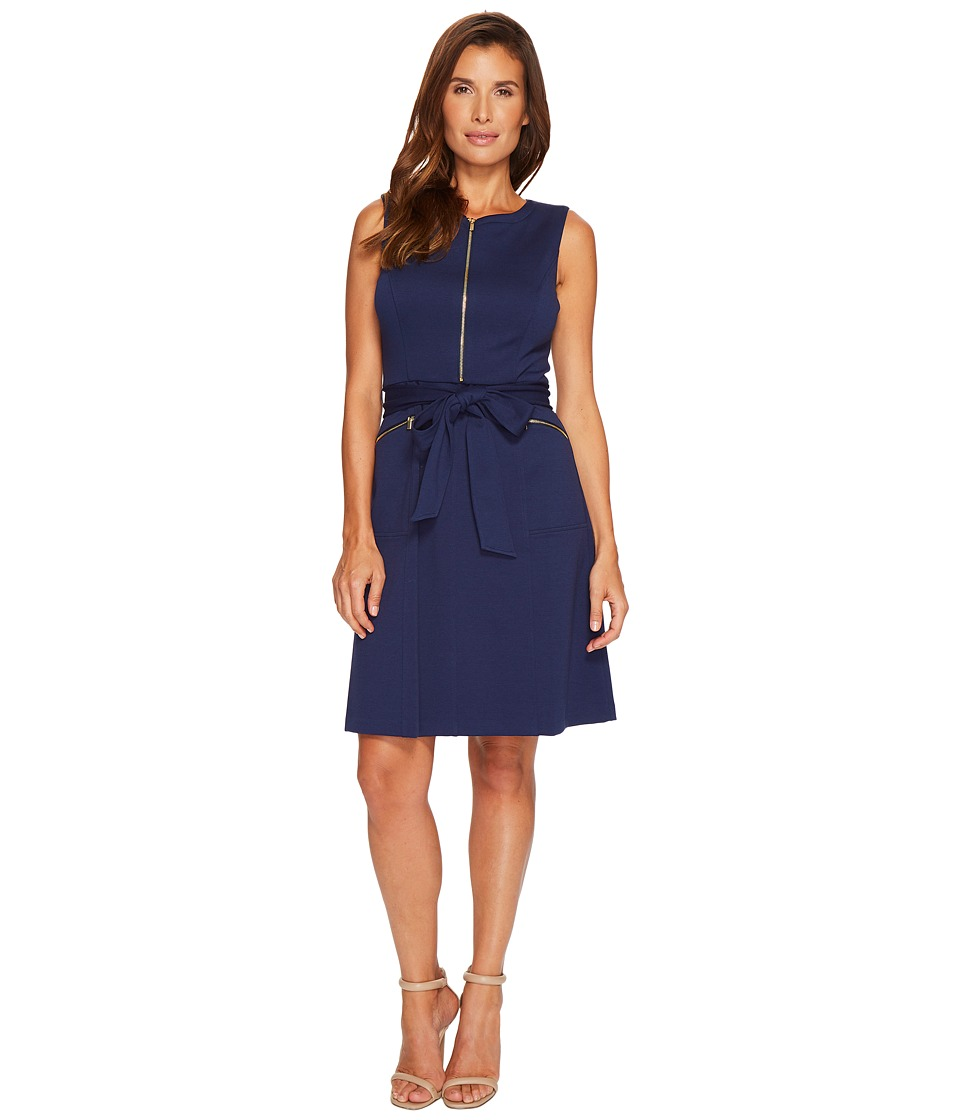Ellen Tracy - A-Line Ponte Dress with Zipper Detail and Waist Tie (Navy) Women's Dress