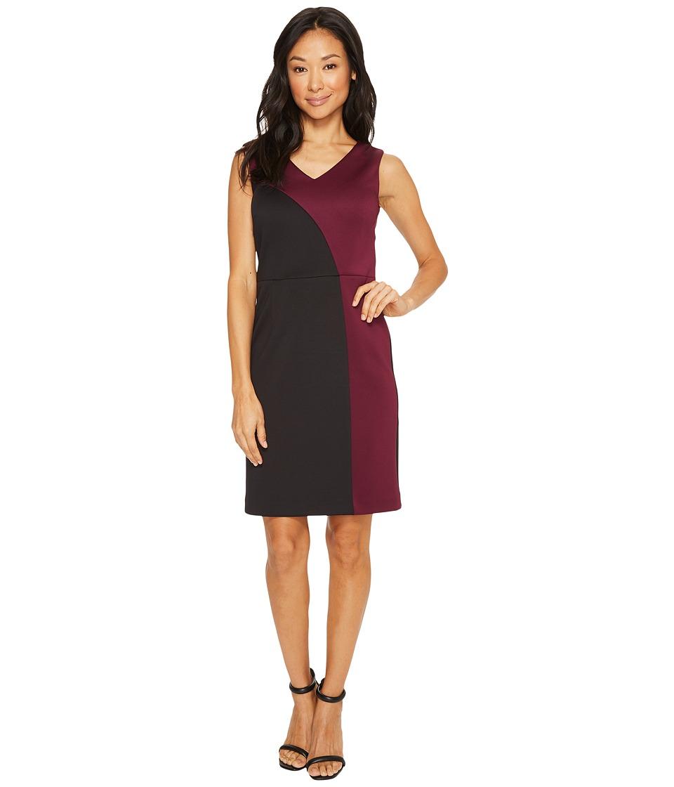 Ellen Tracy Color Block Dress with V-Neck (Black/Merlot) Women