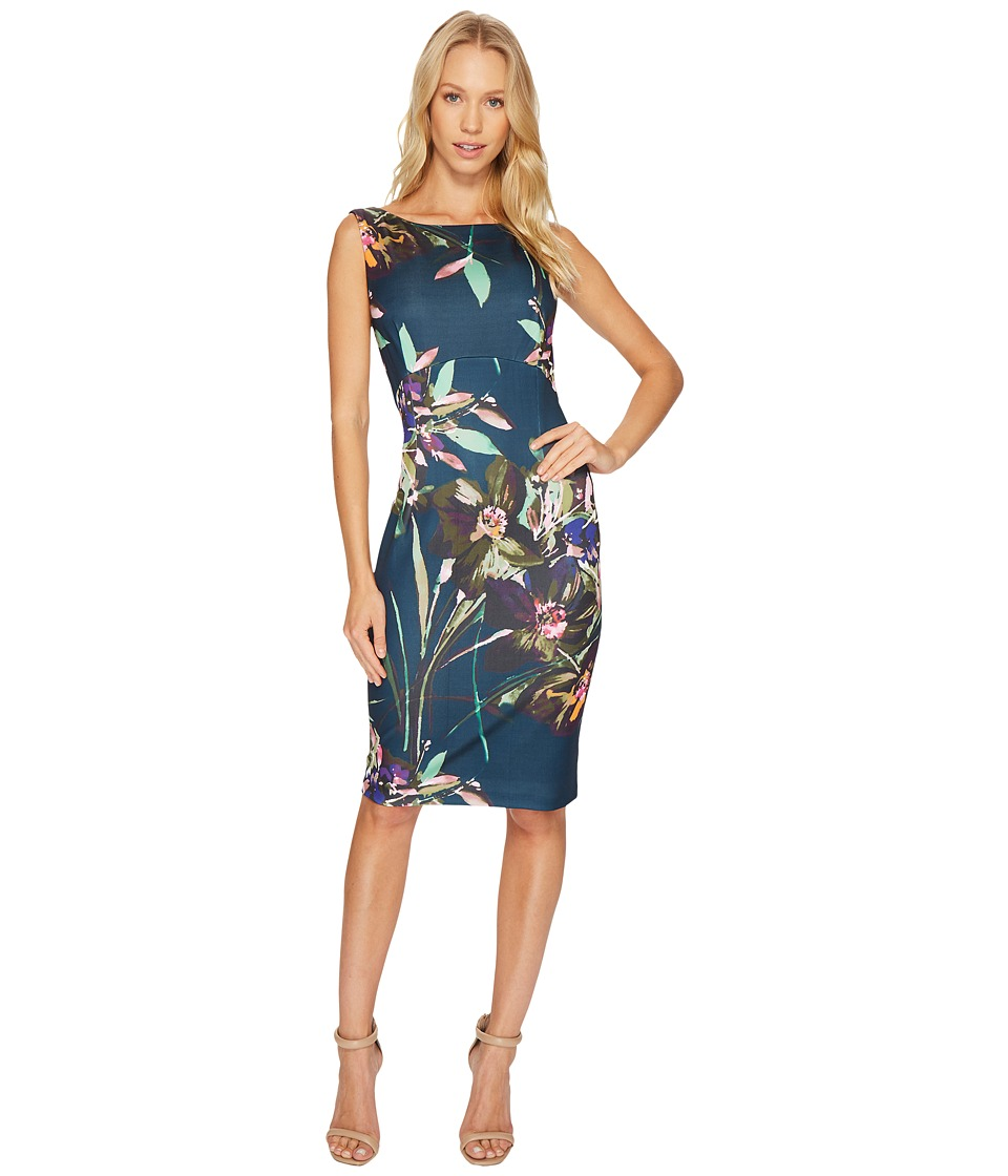 Ellen Tracy - Floral Printed Scuba Dress (Multi) Women's Dress