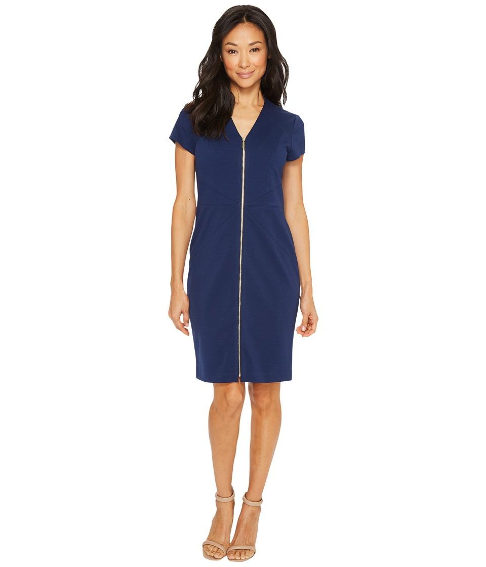 Ellen Tracy - Short Sleeved Ponte Dress with Front Zipper (Navy) Women's Dress