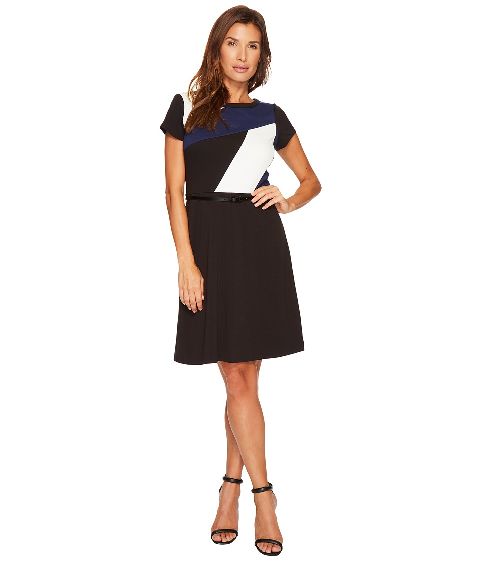 Ellen Tracy - Short Sleeved Color Block Dress with Belt (Navy Multi) Women's Dress