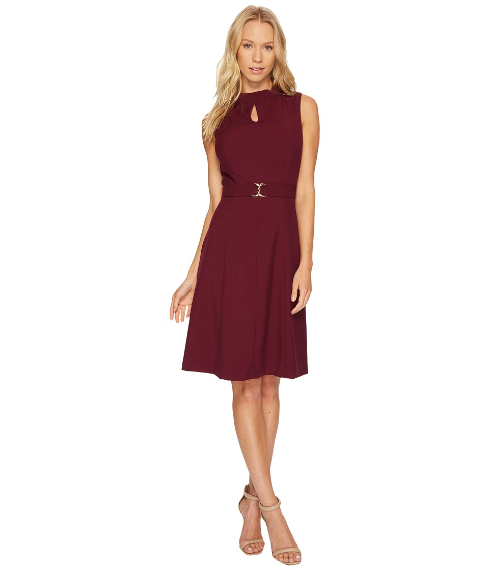 Ellen Tracy A-Line Bistretch Dress with Keyhole and Buckle Detail (Merlot) Women
