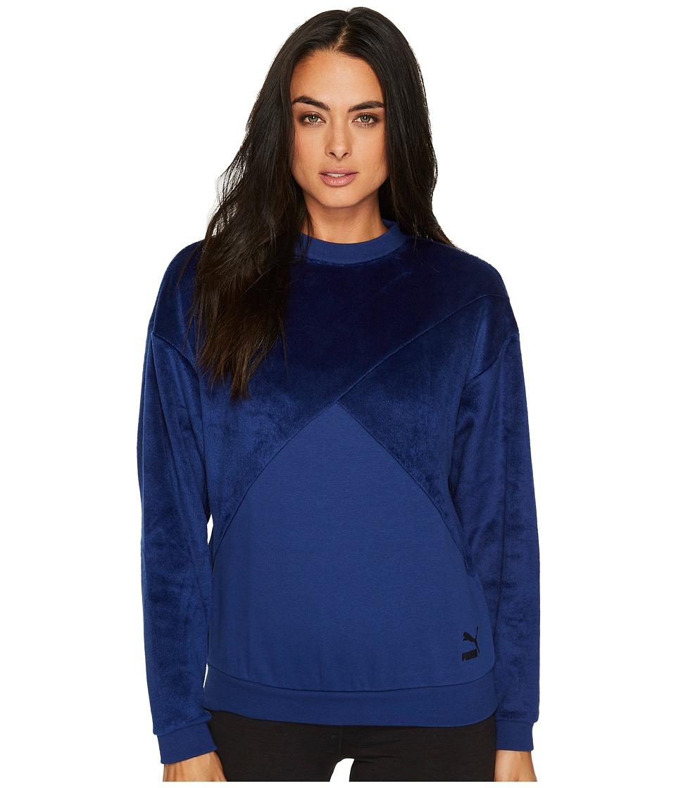PUMA Fabric Block Crew Sweatshirt (Blue Depths) Women