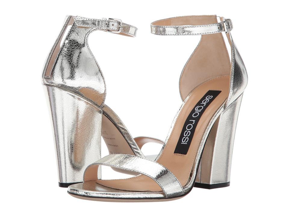 Sergio Rossi Lea (Argento Crack Lame/PVC) High Heels