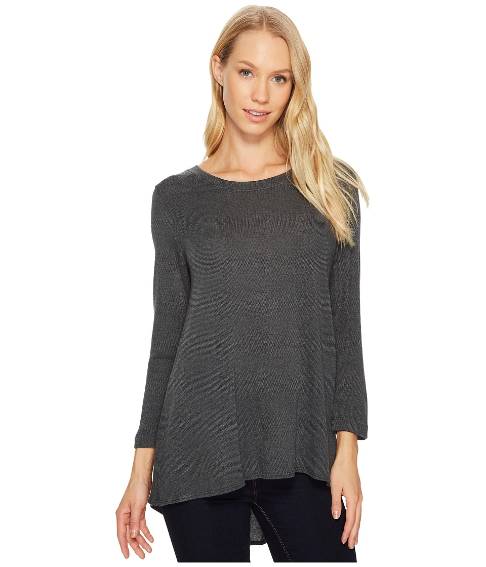 Nally & Millie - Pleated Back French Terry 3/4 Sleeve Tunic (Evergreen) Women's Blouse