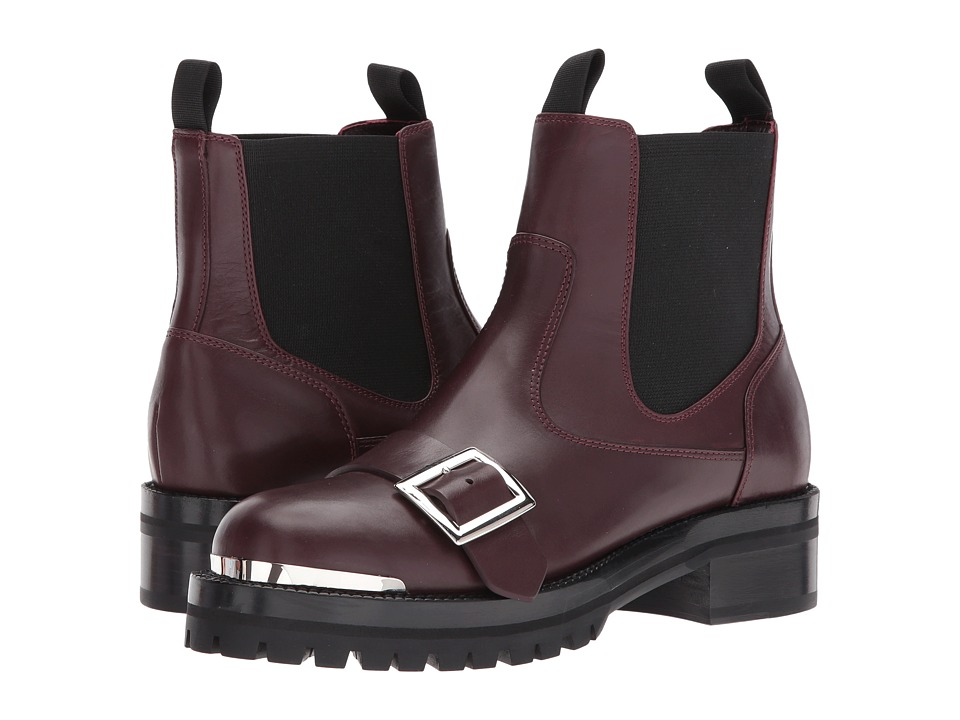 Alexander McQueen Hobnail Ankle Boot (Burgundy/Black) Women