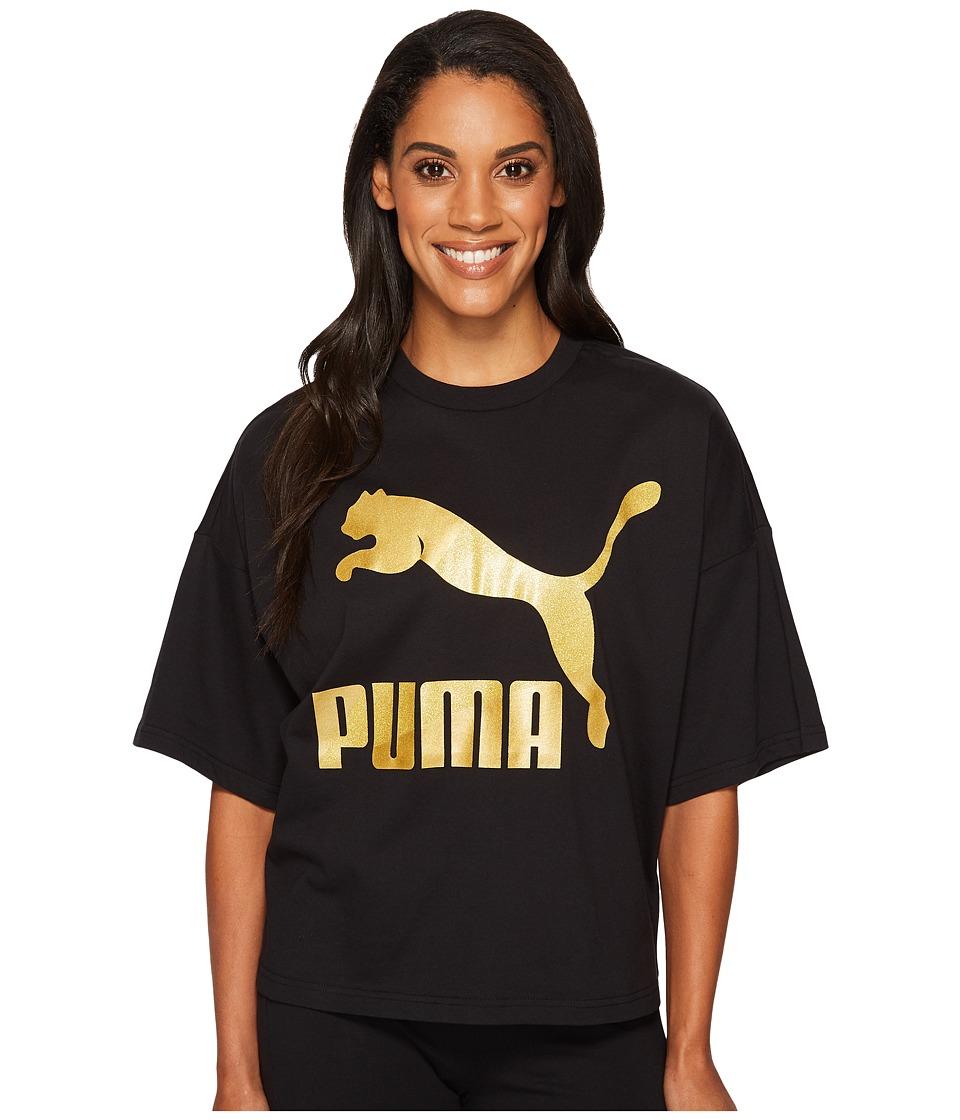PUMA Glam Oversized Tee (PUMA Black/Gold Glitter) Women