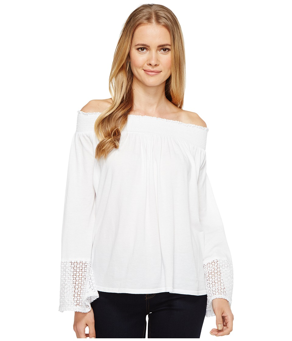 Three Dots Trellis Lace Peasant Top (White) Women