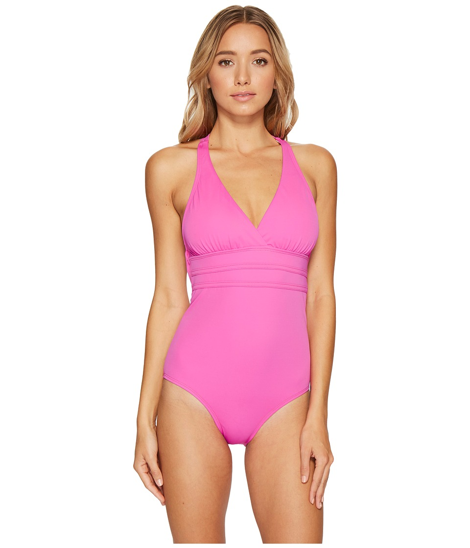 Athena Solid Crisscross One-Piece (Solid Pink) Women