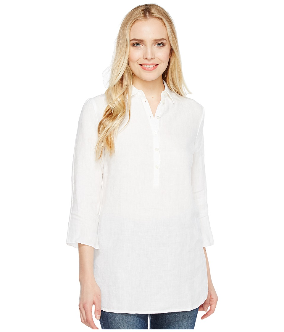 Three Dots - Long Sleeve Tunic w/ Front Buttons (White) Women's Clothing