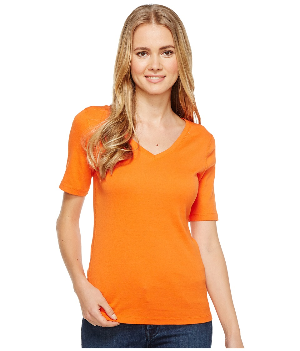 Three Dots 9 Sleeve V-Neck (Hot Sun) Women's Short Sleeve Pullover