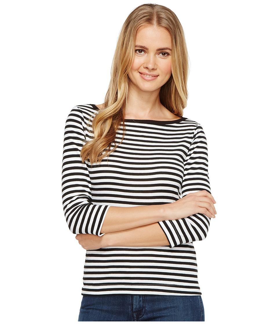 Three Dots - Mykonos Stripe 3/4 Sleeve British (Black/White) Women's Clothing
