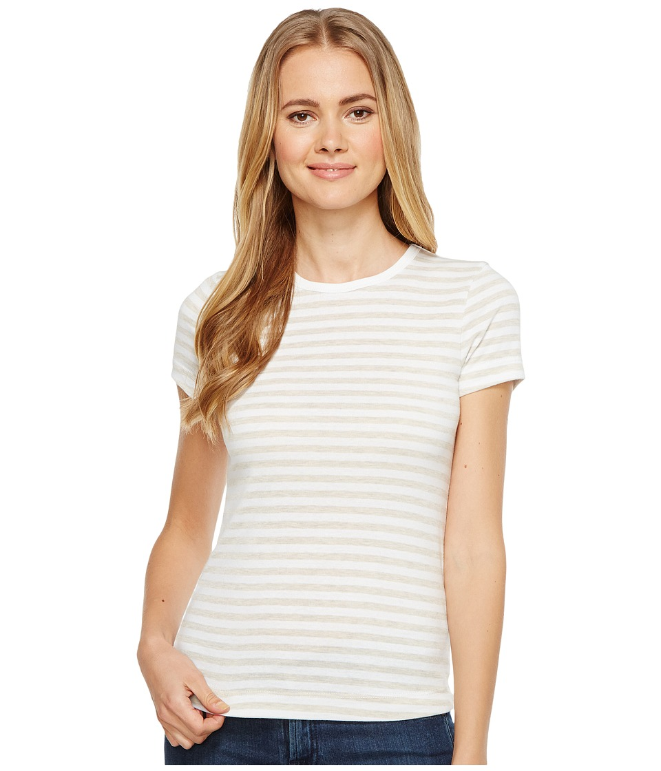 Three Dots - Stripe Kennedy Crew Neck (Oatmeal/White) Women's Clothing